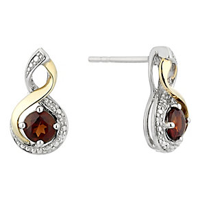 Silver & 9ct Yellow Gold Diamond & Garnet Twist Earrings - Product number 2272652