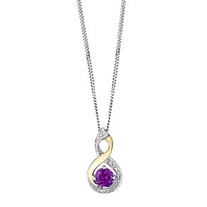 Silver & 9ct Yellow Gold Diamond & Amethyst Twist Pendant - Product number 2272679