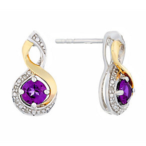Silver & 9ct Yellow Gold Diamond & Amethyst Twist Earrings - Product number 2272709