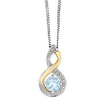 Silver & 9ct Yellow Gold Diamond & Aquamarine Twist Pendant - Product number 2272733