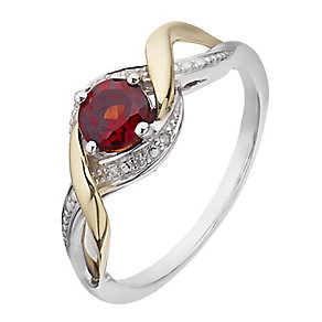 Silver & 9ct Yellow Gold Diamond & Garnet Twist Ring - Product number 2272741