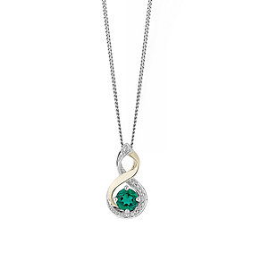 Silver & 9ct Yellow Gold Diamond & Emerald Twist Pendant - Product number 2273144