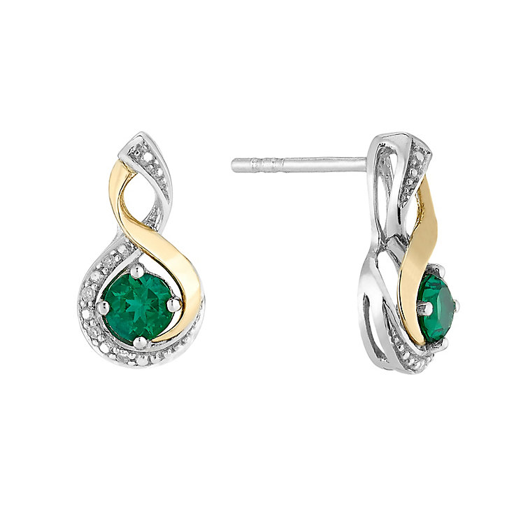 silver 9ct yellow gold emerald twist earrings