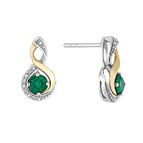 Silver & 9ct Yellow Gold Diamond & Emerald Twist Earrings - Product number 2273160