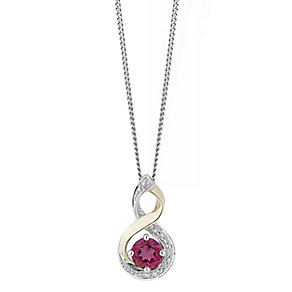 Silver & 9ct Yellow Gold Diamond & Ruby Twist Pendant - Product number 2273179