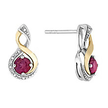 Silver & 9ct Yellow Gold Diamond & Ruby Twist Earrings - Product number 2273187