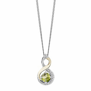 Silver & 9ct Yellow Gold Diamond & Peridot Twist Pendant - Product number 2273403