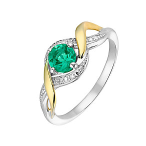 Silver & 9ct Yellow Gold Diamond & Emerald Twist Ring - Product number 2273411