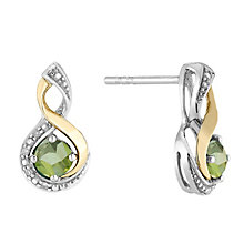 Silver & 9ct Yellow Gold Diamond & Peridot Twist Earrings - Product number 2273551