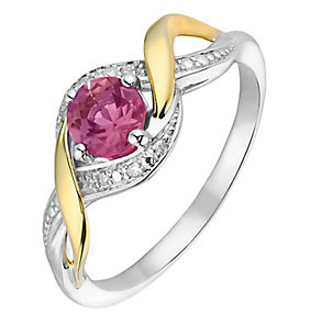 Silver & 9ct Yellow Gold Diamond & Ruby Twist Ring - Product number 2273578