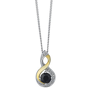 Silver and 9ct Yellow Gold Diamond & Sapphire Twist Pendant - Product number 2273756
