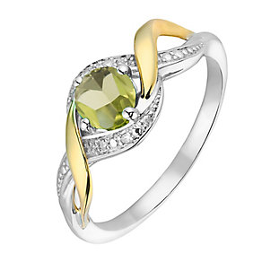 Silver & 9ct Yellow Gold Diamond & Peridot Twist Ring - Product number 2273810