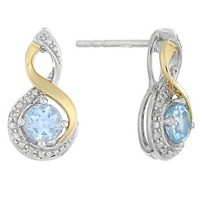 Silver & 9ct Yellow Gold Diamond & Blue Topaz Twist Earrings - Product number 2274000