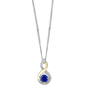 Silver & 9ct Yellow Gold Diamond & Created Tanzanite Pendant - Product number 2274019