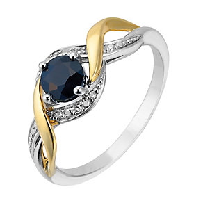 Silver and 9ct Yellow Gold Diamond & Sapphire Twist Ring - Product number 2274027