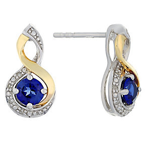 Silver & 9ct Gold Diamond & Created Tanzanite Twist Earrings - Product number 2274191