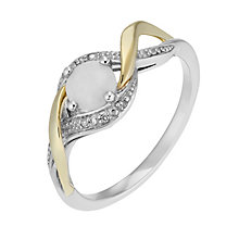 Silver and 9ct Yellow Gold Diamond & Opal Twist Ring - Product number 2274221
