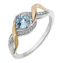 Silver & 9ct Yellow Gold Diamond & Blue Topaz Twist Ring - Product number 2274353