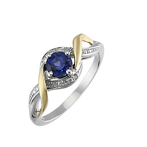 Silver & 9ct Yellow Gold Diamond & Created Tanzanite Ring - Product number 2274558