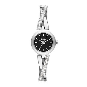 DKNY Ladies' Crosswalk Stainless Steel Crystal Set Watch - Product number 2275562