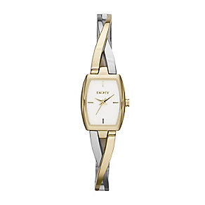 DKNY Ladies' Crosswalk Two Colour Semi Bangle Watch - Product number 2275597