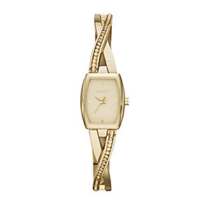 DKNY Ladies' Crosswalk Yellow Gold Plated Bangle Watch - Product number 2275619