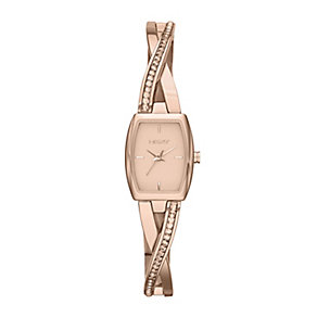 DKNY Ladies' Crosswalk Rose Gold Tone Bangle Watch - Product number 2275627