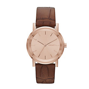 DKNY Ladies' SoHo Crocodile Leather Strap Watch - Product number 2275643