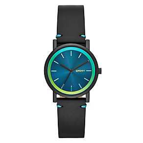 DKNY Ladies' SoHo Turquoise Dial Black Leather Strap Watch - Product number 2276003