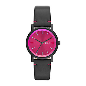 DKNY Ladies' SoHo Hot Pink Dial Black Leather Strap Watch - Product number 2276283