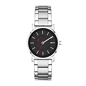 DKNY Ladies' SoHo Stainless Steel Pink Heart Detail Watch - Product number 2276356