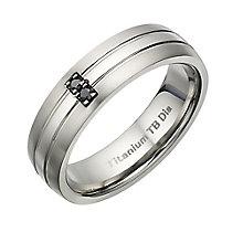 Titanium treated black diamond men's ring - Product number 2277786