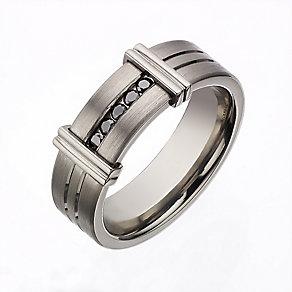 Titanium treated black diamond men's ring - Product number 2277905