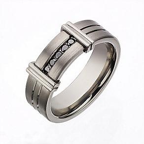Titanium treated black diamond men's ring - Product number 2277905