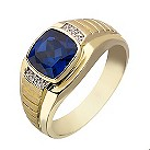 9ct yellow gold diamond & created sapphire square ring - Product number 2278324