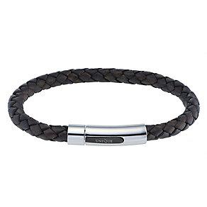 Unique men's dark brown leather bracelet - Product number 2278863