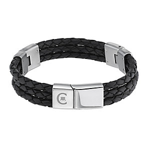 Cerruti men's stainless steel & leather three row bracelet - Product number 2278901