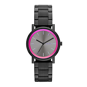 DKNY Ladies' SoHo Black And Pink Stainless Steel Watch - Product number 2279002