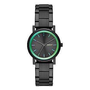 DKNY Ladies' SoHo Black And Green Stainless Steel Watch - Product number 2279029