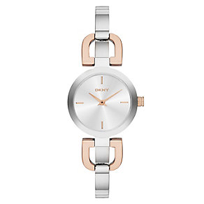 DKNY Ladies' Reade Silver & Rose Gold Plated Bracelet Watch - Product number 2279193
