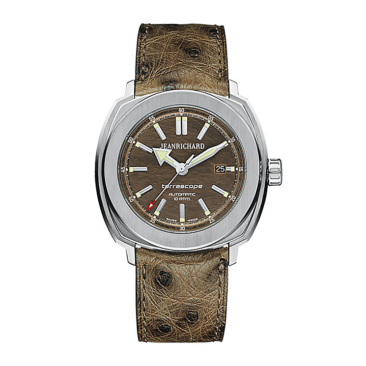 JEANRICHARD men's brown leather strap watch - Product number 2279673