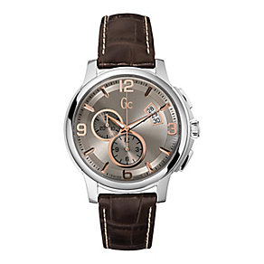 Gc men's stainless steel brown leather strap watch - Product number 2283212