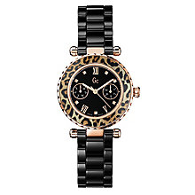Gc ladies' black ceramic leopard print bracelet watch - Product number 2283239