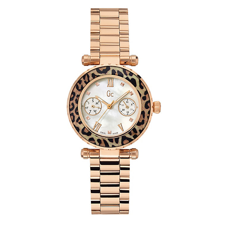 Gc ladies' gold-plated leopard print bracelet watch - Product number 2283247
