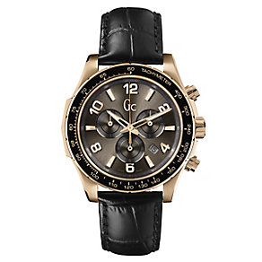 Gc men's black croc effect leather strap watch - Product number 2283301