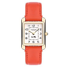Coach Page ladies' orange leather strap watch - Product number 2283751