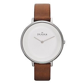 Skagen Ladies' Stainless Steel Brown Leather Strap Watch - Product number 2284200