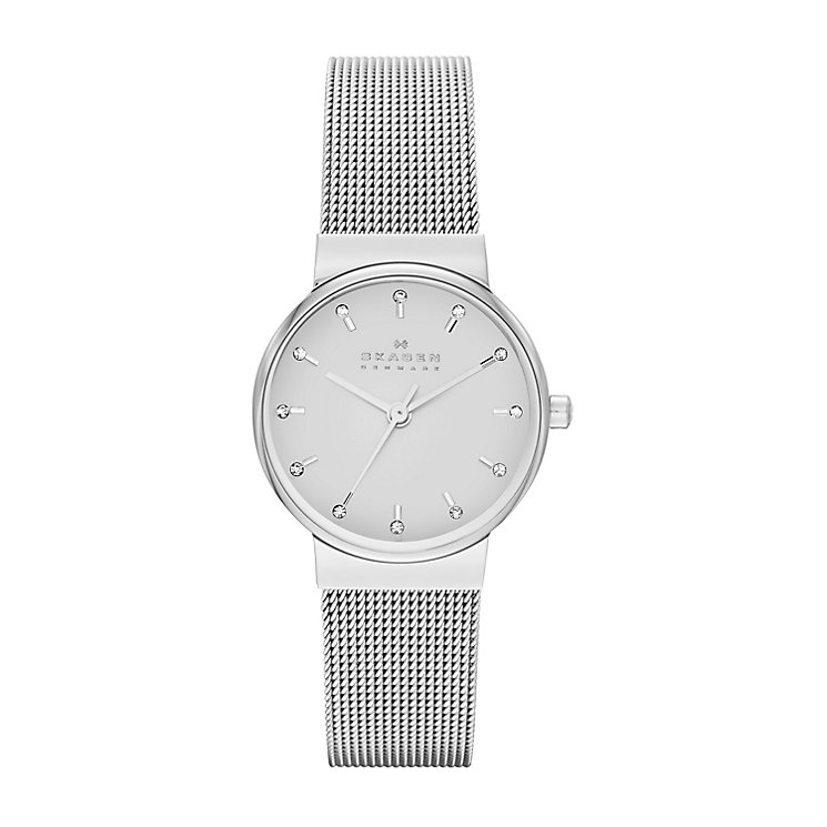 Skagen Ladies' Ancher Crystal Set Steel Mesh Strap Watch - Product number 2284243