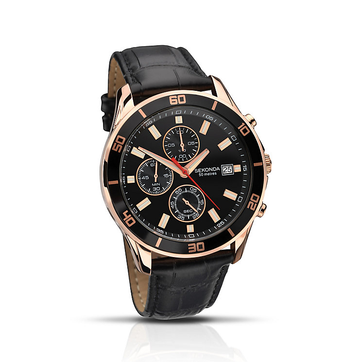 Sekonda Men's Night Fall Black Leather Strap Watch - Product number 2284294