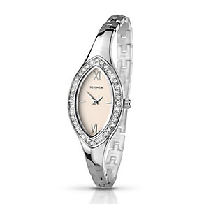 Sekonda Ladies' Chrome Coloured Stone Set Half-Bangle Watch - Product number 2284340